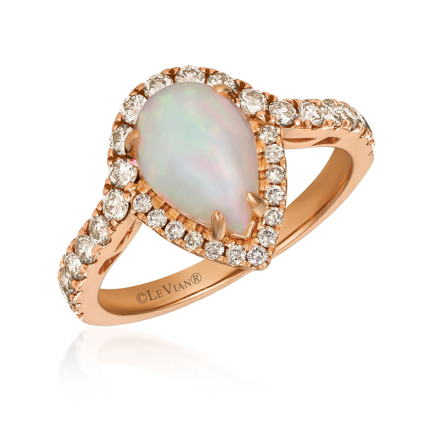 Le Vian 14ct Strawberry Gold Opal & 0.58ct Diamond Ring - Product number 1114662