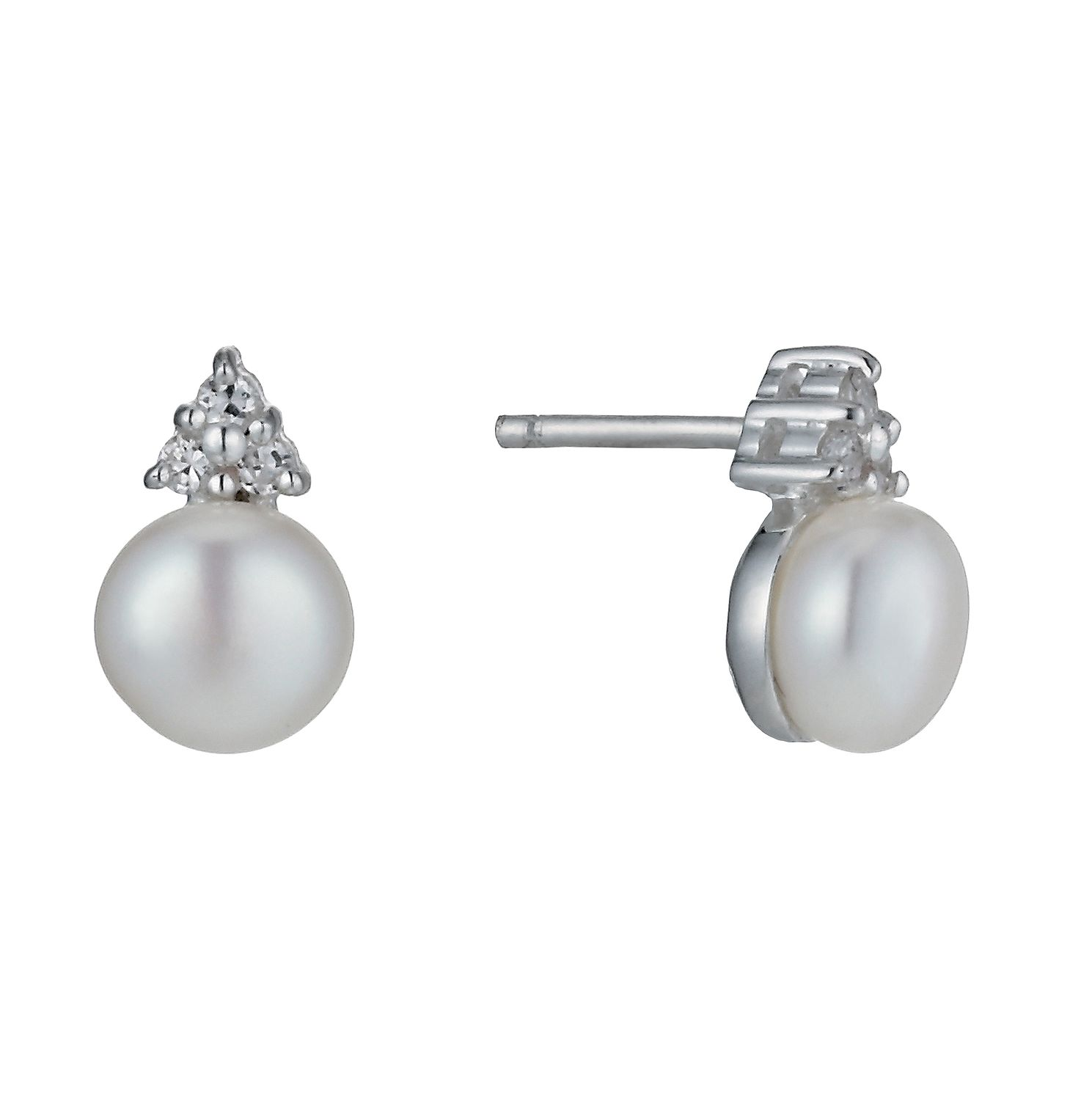 Sterling Silver Cubic Zirconia Freshwater Pearl Earrings - Product number 1115189