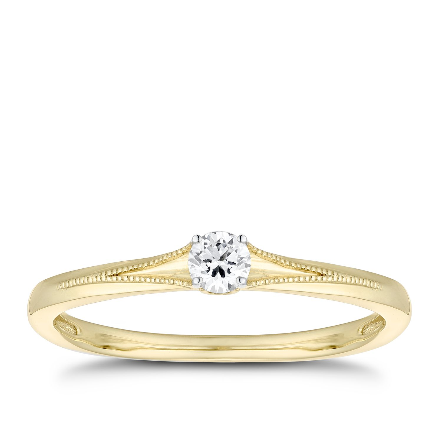 9ct Yellow Gold 1/10ct Diamond Solitaire Milgrain Ring - Product number 1115758