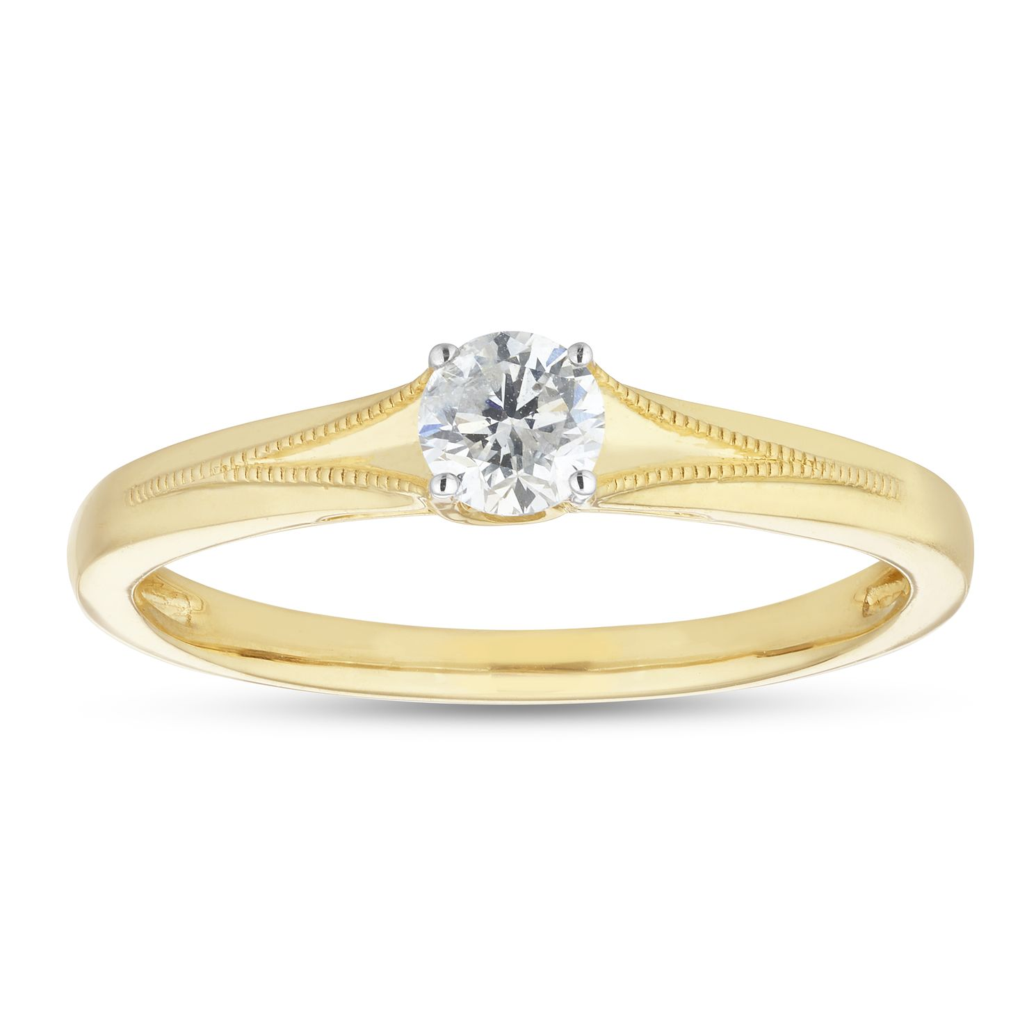 9ct Yellow Gold 1/5ct Diamond Solitaire Milgrain Ring - Product number 1115936
