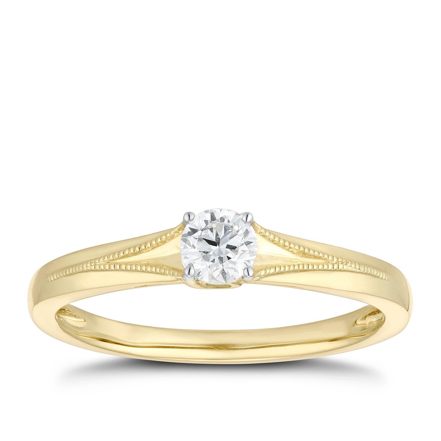 9ct Yellow Gold 1/4ct Diamond Solitaire Milgrain Ring - Product number 1116355