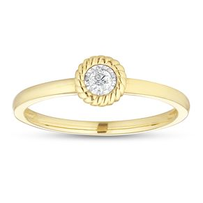 9ct Yellow Gold Round Halo Diamond Solitaire Ring - Product number 1116517