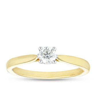 9ct Yellow Gold 1/4ct Diamond Solitaire Ring - Product number 1116673
