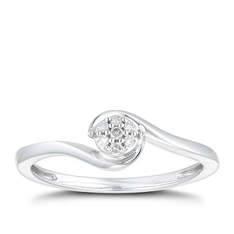 9ct White Gold Twist Diamond Ring - Product number 1116819