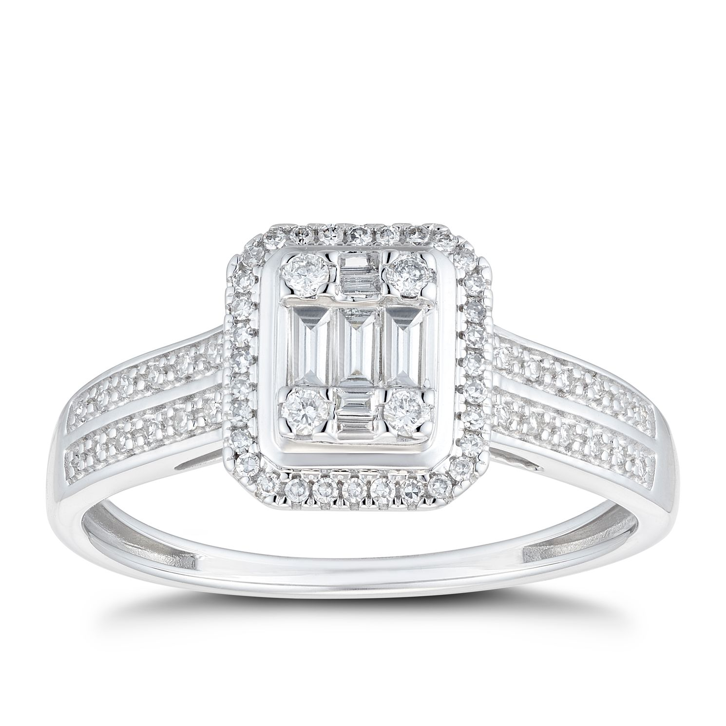 9ct White Gold 0.25ct Total Diamond Baguette Cluster Ring - Product number 1116959