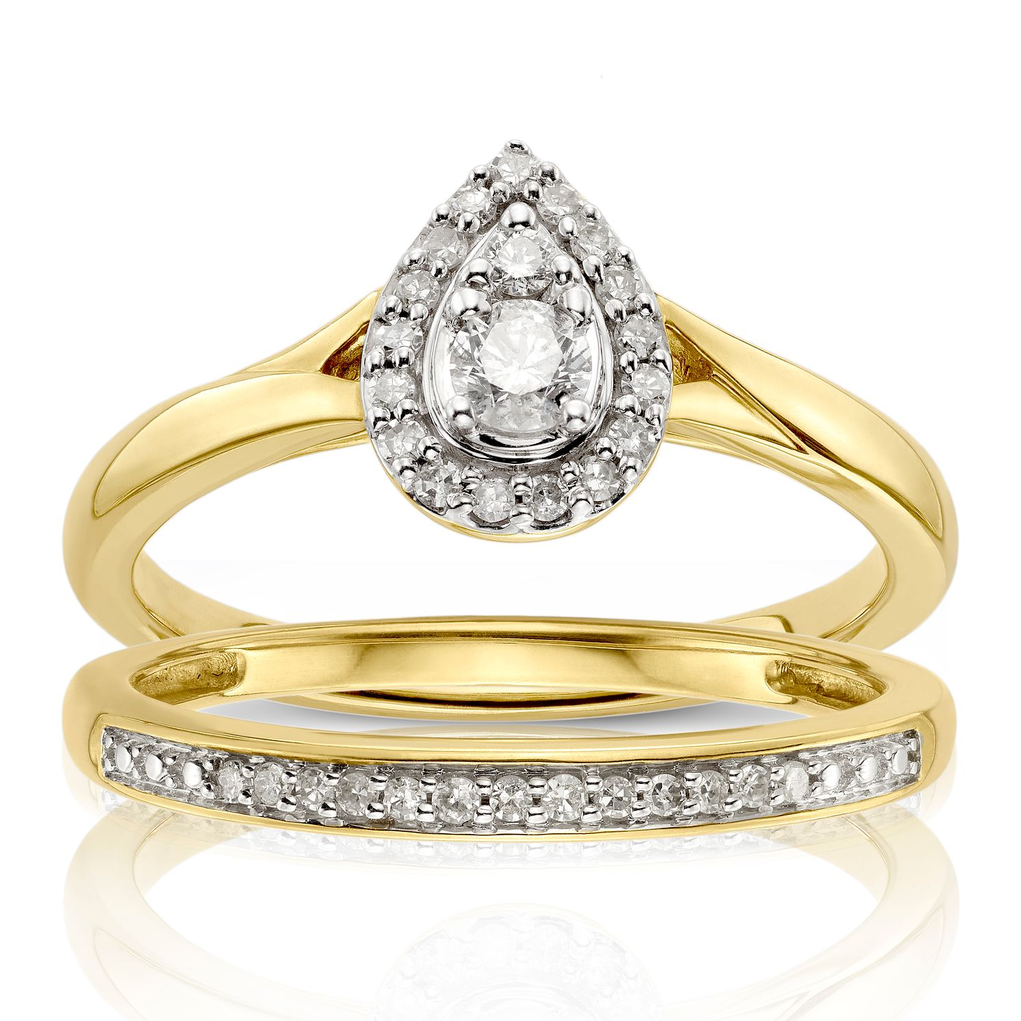 Perfect Fit 9ct Yellow Gold 1/4ct Diamond Pear Bridal Set - Product number 1117718