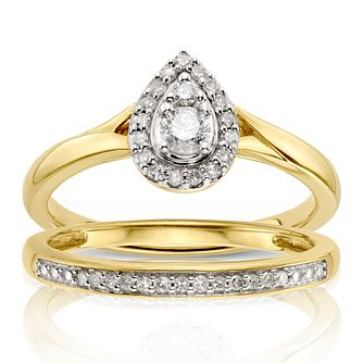 Perfect Fit 9ct Yellow Gold 0.25ctTotal Diamond Bridal Set - Product number 1117718