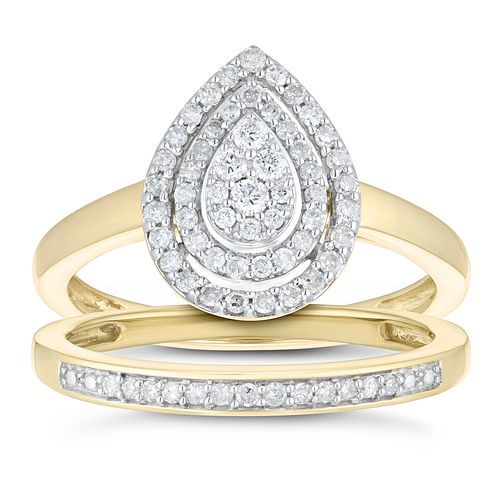 9ct Yellow Gold 1/3ct Diamond Pear Bridal Set - Product number 1117874