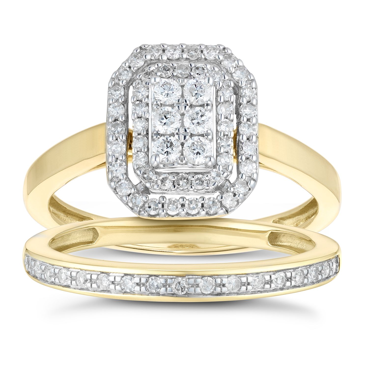 Perfect Fit 9ct Yellow Gold 2/5ct Diamond Layered Bridal Set - Product number 1118005