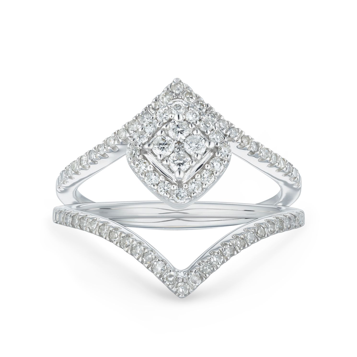 9ct White Gold 2/5ct Diamond Double Chevron Bridal Set - Product number 1118137