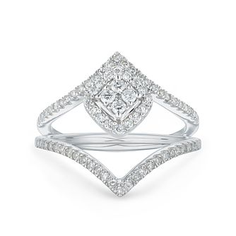 Perfect Fit 9ct White Gold 2/5ct Diamond Chevron Bridal Set - Product number 1118137