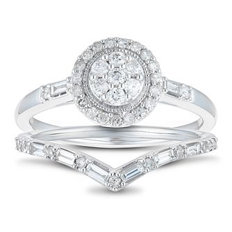 Perfect Fit 9ct White Gold 1/2ct Diamond Round Bridal Set - Product number 1118498