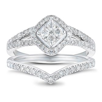 9ct White Gold 1/2ct Diamond Split & Chevron Bridal Set - Product number 1118625