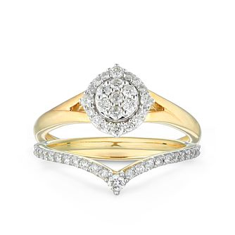 Perfect Fit 9ct Yellow Gold 2/5ct Diamond Chevron Bridal Set - Product number 1118803