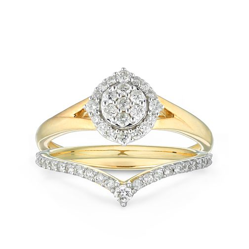 9ct Yellow Gold 2/5ct Diamond Chevron Bridal Set - Product number 1118803