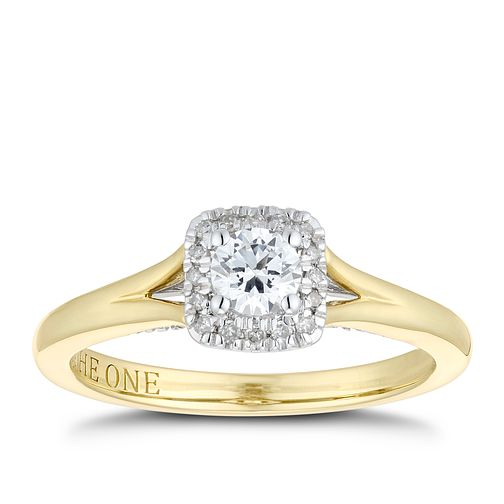 The One 9ct Yellow Gold 1/3ct Cushion Diamond Cluster Ring - Product number 1118978