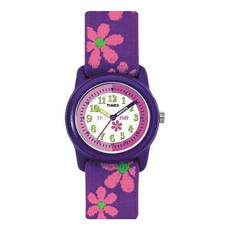 Timex Kids Teacher Girls' Flower Fabric Strap Watch - Product number 1120891