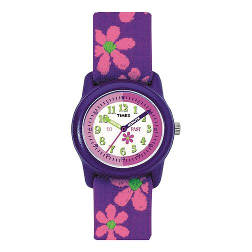 Timex Teacher Girls' Flower Fabric Strap Watch - Product number 1120891