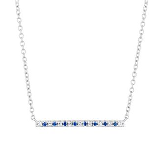 Vera Wang Sterling Silver, Sapphire & Diamond Bar Necklace - Product number 1121162