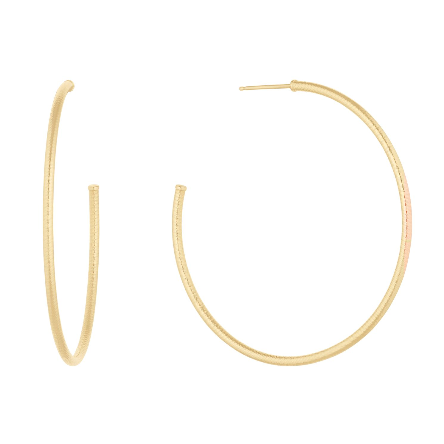 9ct Yellow Gold Ribbed Hoop Earrings - Product number 1121553