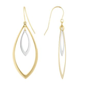 9ct Two-Tone Gold Leaf Shape Drop Earrings - Product number 1121626