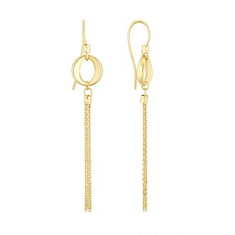 9ct Yellow Gold Eyelet Tassel Drop Earrings - Product number 1121650
