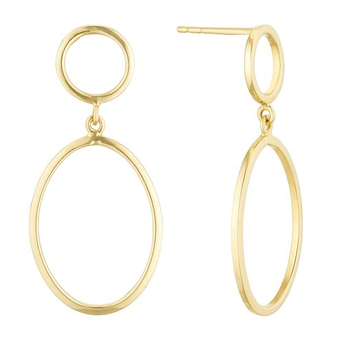 9ct Yellow Gold Open Oval Drop Earrings - Product number 1121669