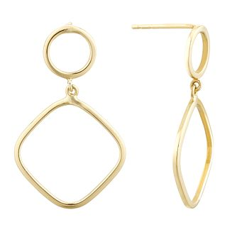 9ct Yellow Gold Open Diamond Shape Drop Earrings - Product number 1121677