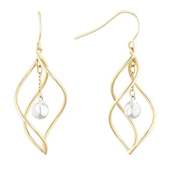 9ct Two-Tone Gold Twist Cage Drop Earrings - Product number 1121707