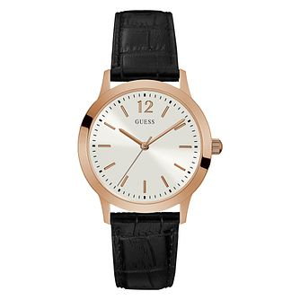 Guess Men's Black Leather Strap Watch - Product number 1125141