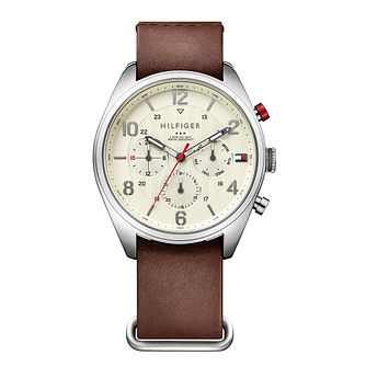 Tommy Hilfiger Men's Sports Brown Leather Strap Watch - Product number 1125885