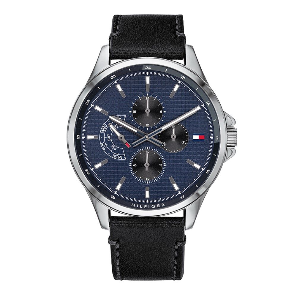 Tommy Hilfiger Chronograph Black Leather Strap Watch - Product number 1125907