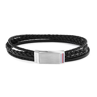 Tommy Hilfiger Men's Steel Plaque & Black Leather Bracelet - Product number 1125982