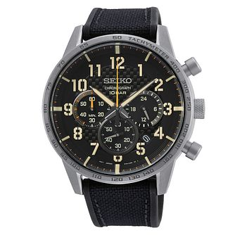 Seiko Urban Sports Chronograph Black Leather Strap Watch - Product number 1126016