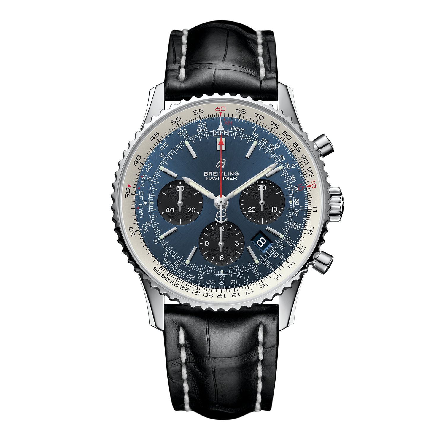 Breitling Navitimer B01 Chrono 43 Men's Leather Strap Watch - Product number 1128620