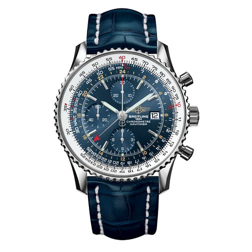 Breitling Navitimer World Men's Blue Leather Strap Watch - Product number 1128892