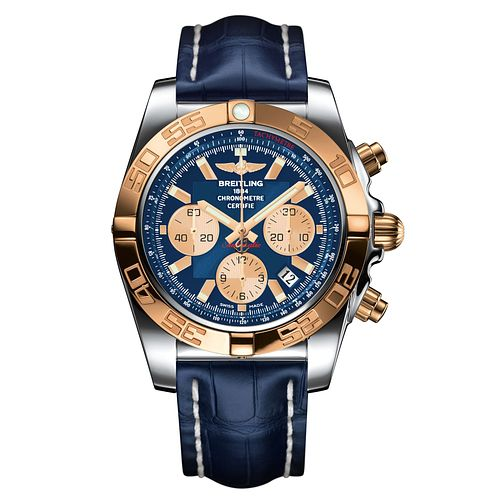 Breitling Chronomat Men's 44 Blue Leather Strap Watch - Product number 1128930