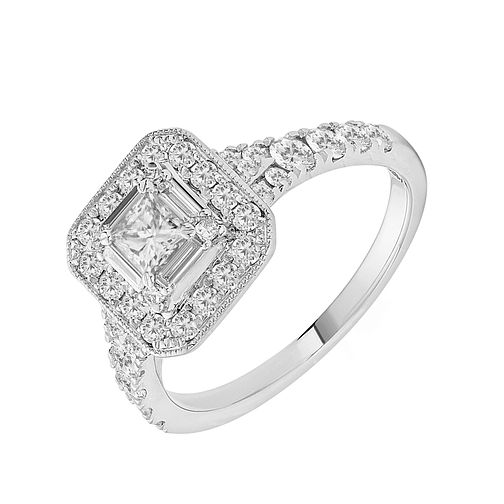 18ct White Gold One Carat Princess Cut Diamond Ring - Product number 1128981