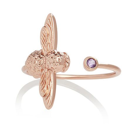Olivia Burton Bejewelled Bee Rose Tone Amethyst Ring - Product number 1130633