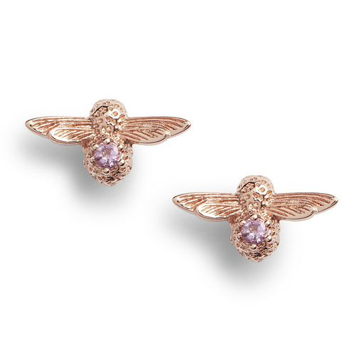 e9dd96a2c0a26 Olivia Burton Bejewelled Bee Rose Tone Amethyst Earrings - Product number  1131478