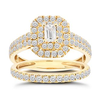 18ct Yellow Gold 1ct Diamond Emerald Cut Bridal Set - Product number 1135201