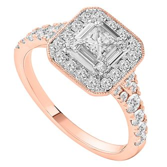 18ct Rose Gold One Carat Princess Cut Diamond Ring - Product number 1137964