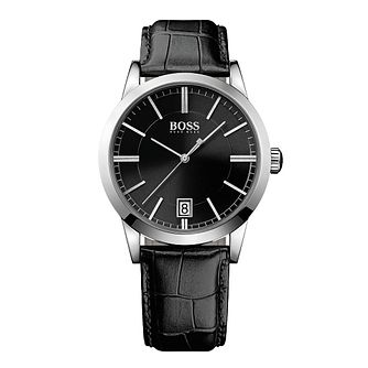 BOSS Success Men's Black Leather Strap Watch - Product number 1139126