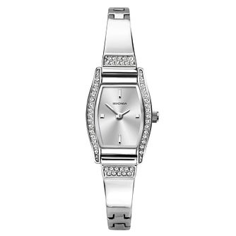 Sekonda Ladies' Crystal Silver Tone Semi-Bangle Watch - Product number 1141295