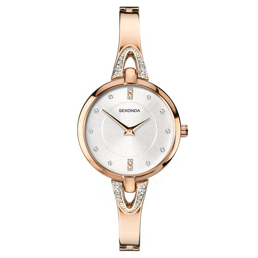 Sekonda Ladies' Crystal Rose Gold Tone Bangle Watch - Product number 1141368