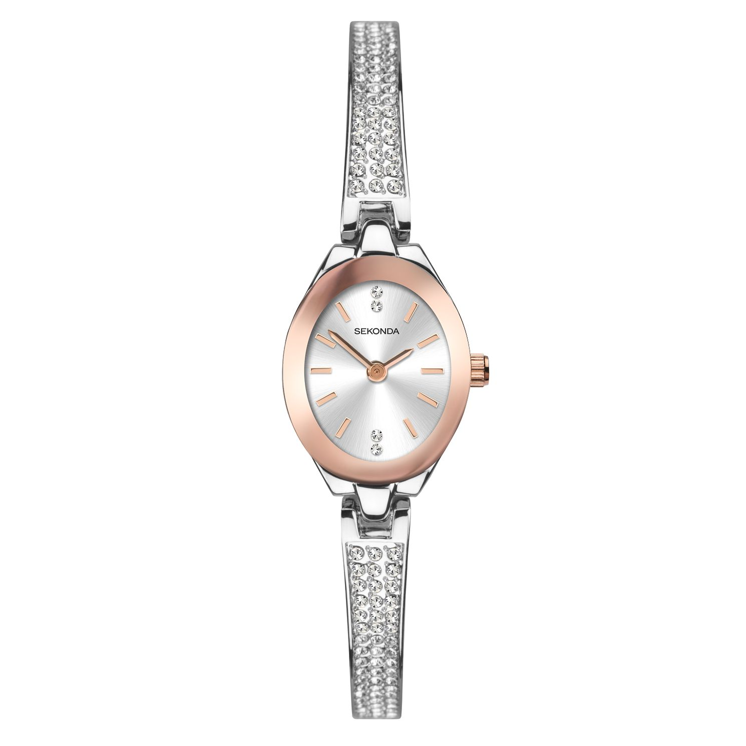 Sekonda Ladies' Crystal Silver Tone Semi-Bangle Watch - Product number 1141376