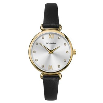 Sekonda Ladies' Black Leather Strap Watch - Product number 1141384