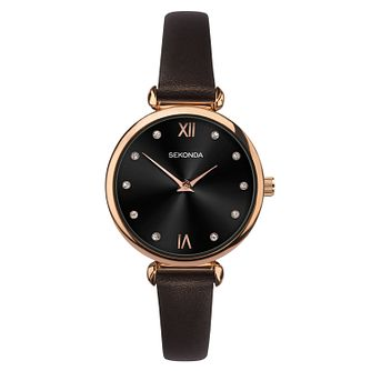 Sekonda Ladies' Dark Brown Leather Strap Watch - Product number 1141392