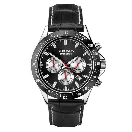 Sekonda Men's Black Leather Strap Watch - Product number 1141473