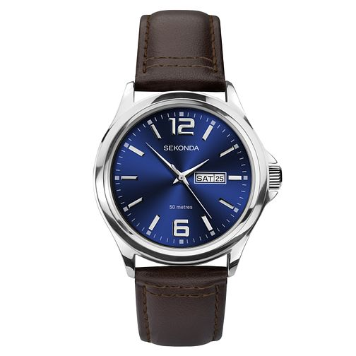 Sekonda Men's Brown Leather Strap Watch - Product number 1141538